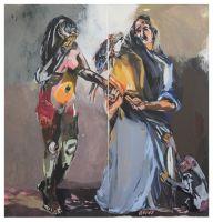 Amerika und die Heilige Rosa - Acryl auf Leinwand (Diptychon) 140 cm x 140 cm