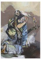 Malicacha und der Priester - Acryl auf Leinwand 140 cm x 100 cm