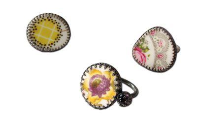 Ringe mit antiken Porzellanscherben . Steffi Kalina